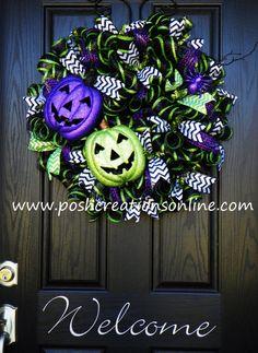 Fall Wreath Halloween Wreath Mesh Wreath Burlap by poshcreationsKY, $85.00