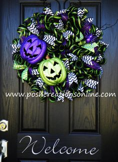 Fall Wreath Halloween Wreath Mesh Wreath Burlap by poshcreationsKY, $85.00