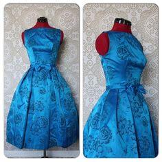 Vintage 1950's 60's Royal Blue Flocked Cocktail Dress XXS by pursuingandie, $165.00
