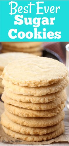 The Best Ever Sugar Cookies recipe comes straight from my grandma's recipe box. My absolute favorite and so simple to make. These sugar cookies are buttery and delicious with crispy edges! I know you are going to love these as much as we do! Crispy Sugar Cookie Recipe, Drop Sugar Cookies, Cinnamon Sugar Cookies, Crispy Cookies, Simple Sugar Cookie Recipe, Big Batch Cookie Recipe, Stuffed Cookies, Baby Cookies, Heart Cookies