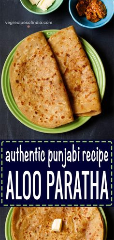 aloo paratha folded and placed on a green ceramic plate on a dark bluish board. sides of butter cubes and mango pickle served in two small ceramic bowls. Tasty Vegetarian Recipes, Veg Recipes, Easy Healthy Recipes, Indian Food Recipes, Cooking Recipes, Punjabi Recipes, Appetiser Recipes, Garlic Recipes, Punjabi Food