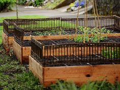 Wonderful twig/woven screen for raised beds.