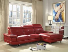 Aeryn red faux leather sectional sofa with chaise. This set features a Right facing chaise and left facing sofa with adjustable headrest and chrome legs. Measures x L chaise, x D x H. Some assembly required. Red Leather Sectional, Sectional Sofa With Chaise, Living Room Sectional, Modern Sectional, Red Sofa, Sofa Throw Pillows, Acme Furniture, Selling Furniture, Sofa Design
