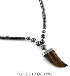 "18"" Tiger Eye Flat Tooth Stone Hematite #Necklace * $6.41 Hematite Necklace, Tooth, Flats, Eyes, Stone, Metal, Loafers & Slip Ons, Rock, Batu"
