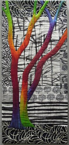 Exuberant Trees art quilt by Terry Aske-love that the tree is multicolored against white/black background Quilt Art, Tree Quilt, Quilt Festival, Quilt Studio, Landscape Art Quilts, Landscapes, Fiber Art Quilts, Quilt Modernen, Colorful Quilts