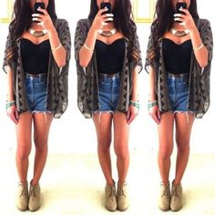 sweater shorts black tube top corset necklace cardigan denim cute outfit casual tank top jewels