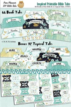 Bible Tabs for Bible Journalling / Inspired Light Teal Patterns 66 Books of the Bible side Tabs and BONUS 12 Top Topical Tabs #bible #biblejournaling #biblestudy #printable #affiliate