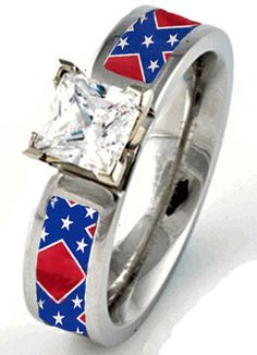 Rebel Flag Engagement or Wedding Ring Rebel Flag Cake, Rebel Flag Nails, Rebel Flag Tattoos, Rebel Flags, Country Rings, Country Jewelry, Redneck Wedding Rings, Camo Engagement Rings, Schmuck