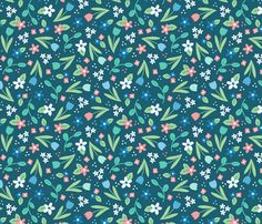 Ditsy Spring Flowers Blue - larger scale fabric by hazel_fisher_creations on Spoonflower - custom fabric  surface pattern design, wallpaper gift wrap, sewing, fabric