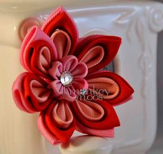 Fabric Flower Hairclip for Girls LG by TheMonkeyMoos on Etsy, $28.00