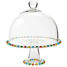 I NEED one of these for my new kitchen!    Color Beaded Cake Stand with Dome