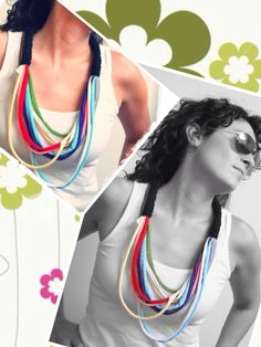 Collar de trapillo multicolor. Modelo N www.prispicollection.blogspot.com