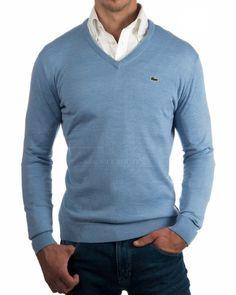 Jersey Lacoste cuello pico Azul Celeste