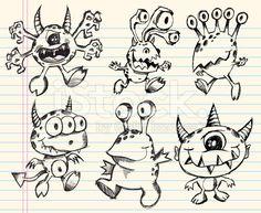 Doodle Sketch Monster Set stock vector art 14261873 - iStock