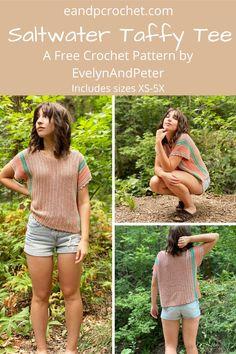 Crochet Summer Tops, Easy Crochet, Free Crochet, Knit Crochet, Crochet Tops, Crochet T Shirts, Crochet Blouse, Crochet Clothes, Crochet Sweaters