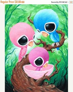 Hey, I found this really awesome Etsy listing at https://www.etsy.com/listing/242923419/on-sale-sugar-fueled-lovebirds-blue-pink