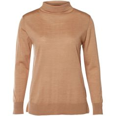 MERINO WOOL TURTLENECK (86 AUD) ❤ liked on Polyvore featuring tops, sweaters, turtle neck top, merino turtleneck, beige top, turtle neck sweater and polo neck top