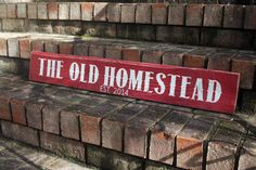 The Old Homestead - weathered wood sign - red w/white text - #woodsign #customsign #homedecor #SignsByAndrea