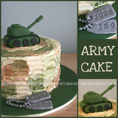 Army cake. I couldnt replicate the fondant pieces, but I could the do the cake with the coating.