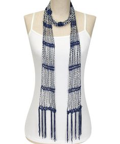 Look what I found on #zulily! Navy & Pearl Bead Scarf #zulilyfinds