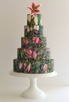 A signature stained-glass cake from Maggie Austin