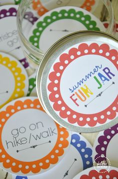 Summer fun jar printables -- things for kids to do during the summer