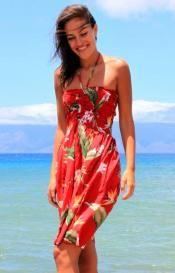 Vibrant Red Floral Sun Dress