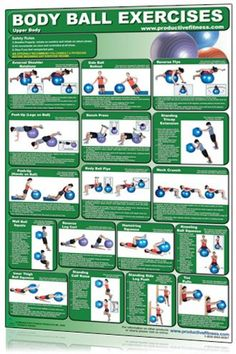 Exercise Charts for Stability Ball (Balance Ball, Swiss Ball) and BOSU Body Ball Core Exercise Laminated Poster Chart – Total Core Workout – Personal Trainer Fitness Program for Women & Men Swiss Ball, Balance & … Exe . Core Muscle Exercises, Swiss Ball Exercises, Stability Ball Exercises, Core Stability, Balance Ball Exercises, Belly Exercises, Toning Workouts, At Home Workouts, Ball Workouts