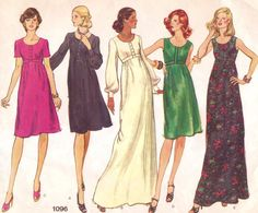 1970s Vogue Basic Design Sewing Pattern 1096 Womens Empire Waist Boho Short or Maxi Length Dress Size 12 Bust 34
