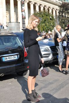 Lena casually killing it in an LBD in Paris. #ElenaPerminova