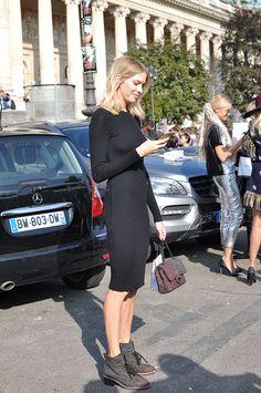 Lena casually killing it in an LBD in Paris. #ElenaPerminova