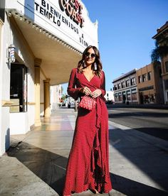 fc4d6e49bdb in the Bell Long Sleeve Crop Top + Monica Maxi Skirt in Polka Passion