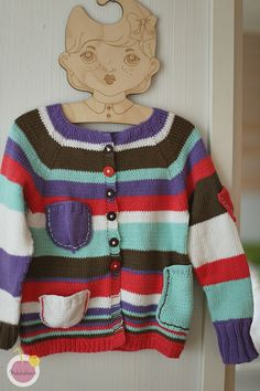 cardican pattern for kids, striped cardican
