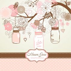 Maybe use on blog (change colors to match brand) Hand Drawn Mason Jars card template and digital by GraphicMarket, $4.99