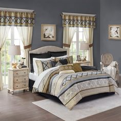 Completely transform your bedroom with the Madison Park Essentials Windsor Comforter Set. The jacquard woven comforter and shams display a chain-link design in rich black and gold hues. Set also includes sheets, window curtain panels and more. Queen Comforter Sets, Bedding Sets, Bedroom Bed, Bedroom Decor, Bedroom Ideas, Master Bedrooms, Bedroom Colors, Wall Decor, Room In A Bag