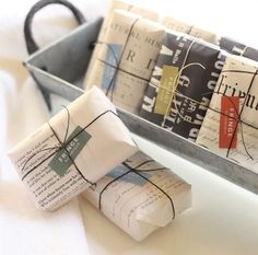 soaps wrapped with waxed twine