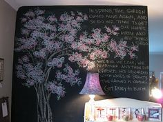 One day I want a wall like this in my room.to write my quotes & stories & notes. And I want someone to draw me an awesome cherry blossom tree like that too. Chalkboard Wall Bedroom, Chalkboard Art, Bedroom Wall, Cherry Blossom Tree, Blossom Trees, Chalk It Up, Chalk Board, Inspired By Charm, Wall Drawing