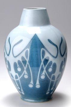 CHRISTIAN NEUREUTHER Vase, c. 1908, manufactured by Wächtersbacher Steingutfabrik, 24.5cm H.