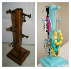 Turn a coffee mug tree/stand into a Shabby Chic Jewelry Organizer- Would be great for N
