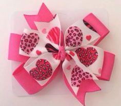 Pink and Black Cheetah Animal Print Heart Hair Bow #Handmade