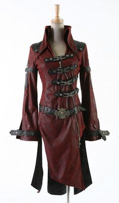 Gothic Goth Steampunk Vampire Military Style Red Jacket Coat by Punk Rave Steampunk Outfits, Style Steampunk, Gothic Steampunk, Steampunk Clothing, Gothic Outfits, Steampunk Fashion, Gothic Fashion, Renaissance Clothing, Gothic Clothing