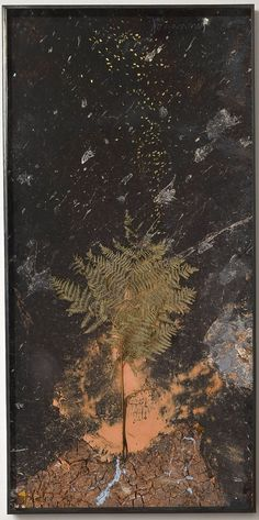 ANSELM KIEFER  Johannis  2010  Paint, clay, chalk and lead on board with resin gold leafed seeds and fern