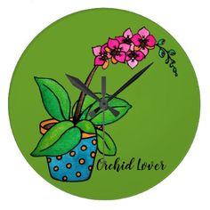 Watercolor Orchid Plant In Beautiful Pot Large Clock - decor gifts diy home & living cyo giftidea