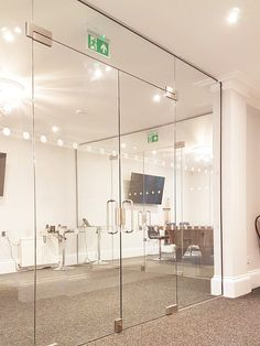 Magna Timber Works (Norwich, Norfolk): Office Glass Double Doors For A Room With High Ceiling Glass Partition Designs, Glass Partition Wall, Living Room Partition Design, Glass Office Doors, Glass Office Partitions, Double Glass Doors, Glass Barn Doors, Glass Porch, Norwich Norfolk