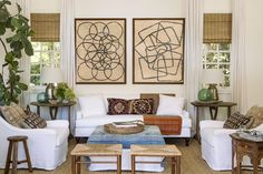 Rattan shades with neutral drapery