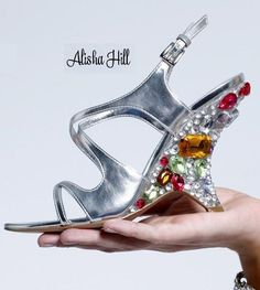 Shoes Womens Wedges Silver Jeweled Heel Size 8.5 Alisha Hill New