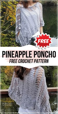 crochet Pineapple Poncho free pattern - easy crochet poncho pattern for beginners Crochet Thread Patterns, Crochet Wrap Pattern, Crochet Halter Tops, Easy Crochet, Free Crochet, Crochet Wraps, Scarf Patterns, Afghan Patterns, Knit Crochet