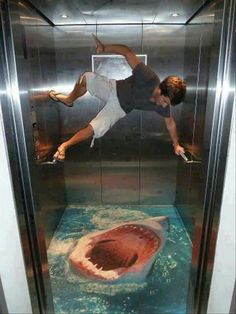 Funny painting floor on the elevator