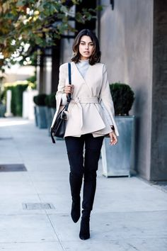 Bloglovin Blog Suede Over The Knee Boots Winter Style Wavy Bob Grey Turtleneck Sweater Cape Wrap Coat Chloe Saddle Bag Skinny Jeans Via Viva Luxury