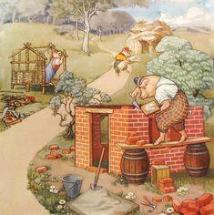 British 3 Little Pigs Fairy Tale Vintage Children's Poster – Vintage Poster Works: Debra Clifford Three Little Pigs, This Little Piggy, Etiquette Vintage, Pig Illustration, Pig Art, Kids Poster, Vintage Prints, Poster Vintage, Vintage Books